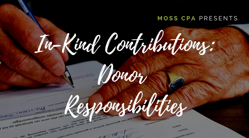 In-Kind Contributions Donor Responsibilities